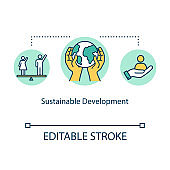 Sustainable development concept icon. Environment protection, gender equality, social and economic life balance idea thin line illustration. Vector isolated outline RGB color drawing. Editable stroke