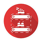 Fruit production red flat design long shadow glyph icon. Apples and grape in crates on conveyor belt. Organic food supply. Professional storage, stock, terminal. Vector silhouette illustration