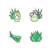 Aloe vera green color icons set. Botanical sprouts. Medicinal herb. Cactus and succulent leaf. Cosmetic cream. Natural lotion. Plant oil and juice. Healthy skincare. Isolated vector illustrations