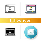 Vlogger icon. Influencer on social media platform. Watch recording online. Stream video on internet. Livestream from blogger. Linear black and RGB color styles. Isolated vector illustrations