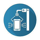 Electronics industry blue flat design long shadow glyph icon. Smartphone and tablet production. Portable gadgets development. Electronic devices. Hardware repair. Vector silhouette illustration