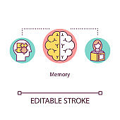 Memory concept icon. Cognitive process idea thin line illustration. Remembrance. Human intelligence. Ability of thinking. Mental health. Vector isolated outline RGB color drawing. Editable stroke