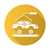 Automotive industry yellow flat design long shadow glyph icon. Car production. Vehicle factory. Automobile repair, fix services. Auto facility with crane and conveyor. Vector silhouette illustration