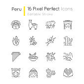 Peru pixel perfect linear icons set. Peruvian sights, culture, nature, cuisine. Siku, poncho, jaguar. Customizable thin line contour symbols. Isolated vector outline illustrations. Editable stroke