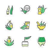 Aloe vera green color icons set. Antiperspirant with medicinal herbs. Cosmetic products for skincare. Plant based cream and lotion. Oil essence. Cactus juice. Isolated vector illustrations