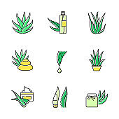 Aloe vera green color icons set. Organic cosmetical spray. Spa treatment with medicinal herbs. Plant sprouts. Potted houseplant. Drop from cactus thorn. Cream, wax. Isolated vector illustrations