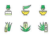 Aloe vera green color icons set. Medicinal herbs juice. Pure organic lotion. Healing liquid from plants. Natural cosmetic products for skincare. Leaf, sprout. Isolated vector illustrations