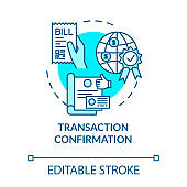 Transaction confirmation turquoise concept icon. Financial document. Payment approved. Notary service idea thin line illustration. Vector isolated outline RGB color drawing. Editable stroke
