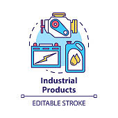 Industrial products concept icon. Production and maintenance of machinery. Maintenance workshop. Manufactured goods idea thin line illustration. Vector isolated outline drawing. Editable stroke