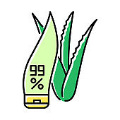 Pure organic cream green color icon. Lotion in tube with aloe vera. Cosmetic with medicinal herbs. Plant based product for skincare. Dermatology and beauty. Isolated vector illustration