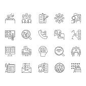 Survey methods linear icons set. Interview. Online, telephone poll. Rating. Public opinion. Customer review. Feedback. Thin line contour symbols. Isolated vector outline illustrations. Editable stroke