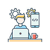 Mobile app developer blue RGB color icon. Freelancer, remote employee, smartphone software creator. Application development, coding, programming, UI design. Isolated vector illustration