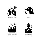 Viral and infectious diseases black glyph icons set on white space. Tuberculosis, rabies, fungal infection and ebola virus silhouette symbols. Dangerous illnesses vector isolated illustration