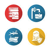 Industry types flat design long shadow glyph icons set. Professional publishing. Water production. Transport, vehicles. Life insurance. Travel services. Plane, ship. Vector silhouette illustration
