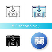 5G web browser icon. Internet browsing. Wireless technology. Fast connection. Data transmission, exchange. Linear black and RGB color styles. Isolated vector illustrations