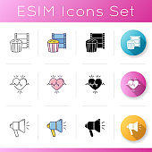 Lifestyle icons set. Watch film for recreation. Cinema for leisure. Healthy heart beat. Loudspeaker broadcasting news. Linear, black and RGB color styles. Isolated vector illustrations