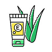 Hand cream with vitamin color icon. Organic lotion in tube. Cosmetic with medicinal plants extract. Dermatology and healthy skincare. Aloe vera leaves and sprouts. Isolated vector illustration