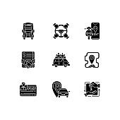 Car sharing and rental service black glyph icons set on white space