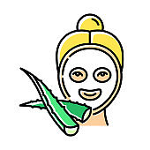 Face sheet mask color icon. Female spa treatment. Healthy skincare with plant extract. Medicinal herbs products. Dermatology and skincare. Vegan cosmetic. Isolated vector illustration