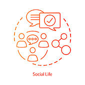 Social life interactions concept icon. Personal relationships, socializing, network development idea thin line illustration. Community communication. Vector isolated outline drawing. Editable stroke