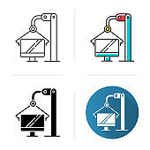 Computer industry icon. Information technology. Production process on monitor factory. Manufacturing of electronic equipment. Flat design, linear and color styles. Isolated vector illustrations