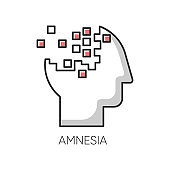 Amnesia color icon. Memory loss. Forgetting from brain injury. Trouble with remembering. Korsakoff syndrome. Mental disorder. Clinical psychology. Healthcare issue. Isolated vector illustration