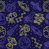 Space vector seamless pattern. Cosmos exploration background. Blue texture, linear color icons. Stars and planets, telescope. Astronaut in universe. Spaceships wrapping paper, wallpaper design