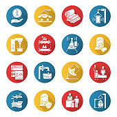 Industry types flat design long shadow glyph icons set. News, media. Broadcasting. Shipbuilding. Pulp and paper production. Publishing. Healthcare. Hospitality industry. Vector silhouette illustration