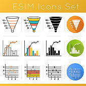 Chart and graph icons set. Funnel marketing model. Conversion plan. Pareto curve. Point and figure chart. Finance report. Flat design, linear, black and color styles. Isolated vector illustrations
