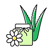 Vegan wax green color icon. Cream with floral extract. Organic lotion in jar with aloe vera. Medicinal herbs product. Plant based cosmetic. Beauty treatment. Isolated vector illustration