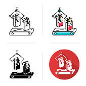 Tobacco industry icon. Conveyor cigarette production line. Products for smokers plant. Manufacturing of packs of cigarettes. Flat design, linear and color styles. Isolated vector illustrations