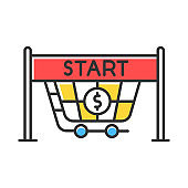 Start selling color icon. Store opening. Waiting for buyers. Entrance to supermarket, shopping cart. Trading. Launch new business. Commercial activity. Isolated vector illustration