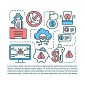 Attention scam article page vector template. Fraud warning brochure, booklet design element with linear icons. Stealing info. Internet crime. Print design. Concept illustrations with text