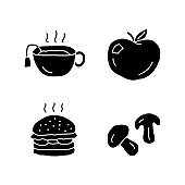 Delicious lunch doodle glyph icons set. Tasty breakfast, fast food and drink silhouette symbols. Hot tea, ripe apple, burger and mushrooms vector isolated illustration. Healthy and harmful nutrition