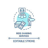Ride share service turquoise concept icon