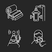 Industry types chalk icons set. Pulp and paper production. Electronics facility. Broadcasting tower. News and media. Person with microphone. Isolated vector chalkboard illustrations