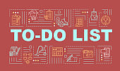 Making checklist word concepts banner. To do list of daily tasks and chores. Infographics with linear icons on red. Planning appointments. Isolated typography. Vector outline RGB color illustration