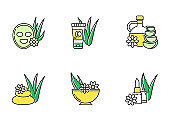 Aloe vera green color icons set. Cosmetology. Spa treatment. Facial mask. Natural cosmetic for moisturizing. Herbal oil. Organic lip balm. Skincare products. Isolated vector illustrations