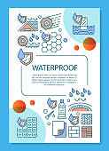 Waterproof construction materials brochure template layout. Flyer, booklet, leaflet print design with linear illustrations. Vector page layouts for magazines, annual reports, advertising posters