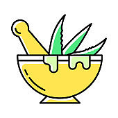 Mortar with pestle color icon. Graining leaves. Aloe vera sprouts in bowl. Plants for grinding. Medicinal herbs liquid. Homemaking process. Cosmetics and dermatology. Isolated vector illustration