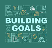 Goal setting word concepts banner. Business strategy. Company KPI. Infographics with linear icons on dark green. Corporate objectives. Isolated typography. Vector outline RGB color illustration