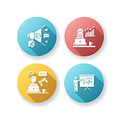 Freelance professions flat design long shadow glyph icons set. Marketologist and social media coordinator, game developer and online tutor. Business and education. Silhouette RGB color illustration