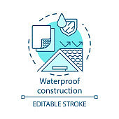 Waterproof building materials concept icon. Water resistant construction surface idea thin line illustration. Hydrophobic coating, covering substances. Vector isolated outline drawing. Editable stroke