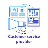 Customer service provider concept icon. Billing idea thin line illustration. Technical support, hotline and communication. Vector isolated outline drawing. Clients assistance. Editable stroke