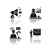 Freelance professions drop shadow black glyph icons set. Marketologist and social media coordinator, game developer and tutor. Business and education. Isolated vector illustrations on white space