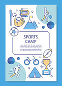Sports camp, competition training brochure template layout. Flyer, booklet, leaflet print design with linear illustrations. Vector page layouts for magazines, annual reports, advertising posters