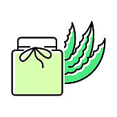 Organic wax green color icon. Aloe vera cream in jar. Organic lotion with medicinal herbs. Plant based cosmetic. Skincare product with healing effect. Beauty treatment. Isolated vector illustration