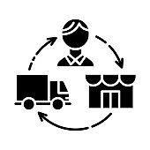 Dropshipping glyph icon. Drop shipping. Order and product delivery to customer. Distributive trades. E commerce. Sales business. Silhouette symbol. Negative space. Vector isolated illustration