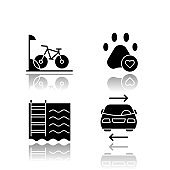 Apartment amenities drop shadow black glyph icons set. Bike parking, pets allowed, swimming pool, shared car service. Residential services. Comfortable house signs. Isolated vector illustrations