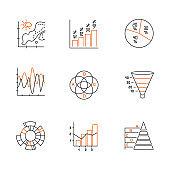 Chart and graph linear icons set. Temperature map. Histogram. Diagram. Funnel chart. Venn diagram. Sunburst. Pyramid. Thin line contour symbols. Isolated vector outline illustrations. Editable stroke